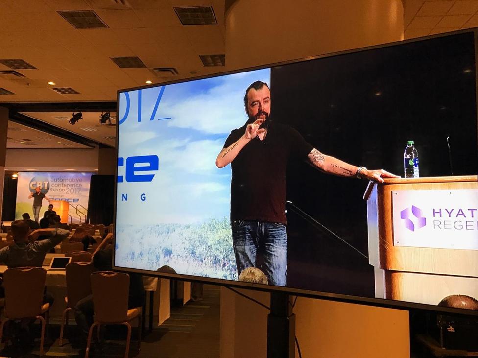 Scott Stratten speaking at CBT Automotive Conference