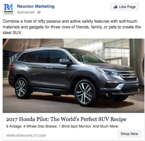 2017 Honda Pilot Facebook Ad