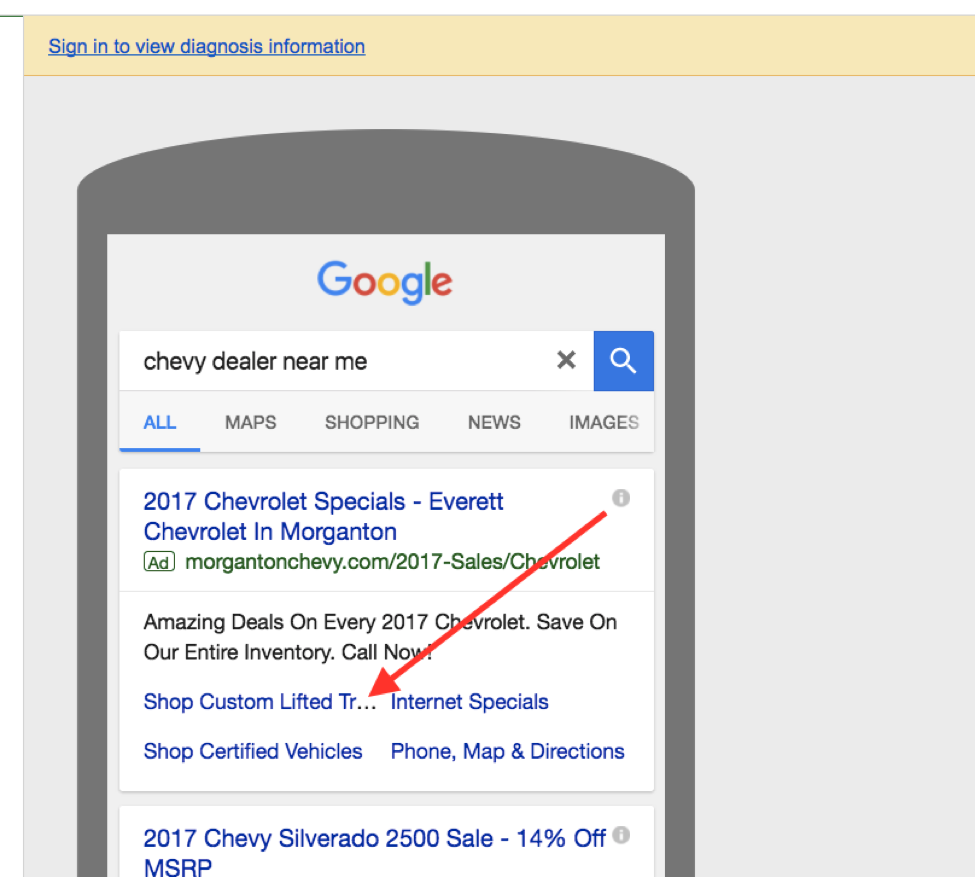 """Example of truncation with a search of """"chevy dealer near me"""" entered"""
