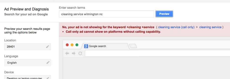 Example of setting search terms