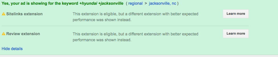 Example of an ad extension explanation