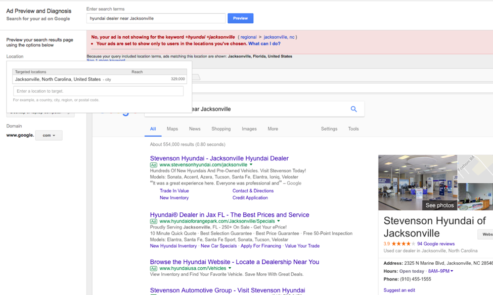 An ad preview and diagnosis interface for a dealership search in Jacksonville, NC