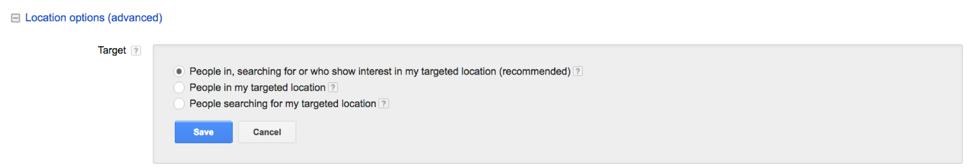 Locations option setting