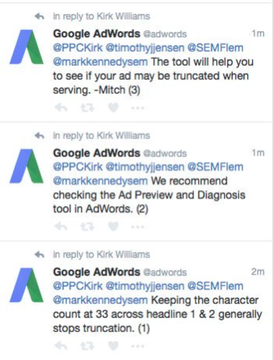 Recommendations on Twitter from SEO expert about ad truncation