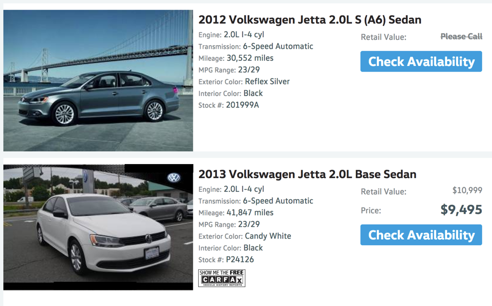 Two vehicle listings: one has more information for consumers