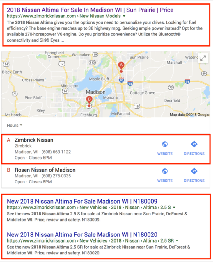 SERPs example for Madison, WI, Dealership