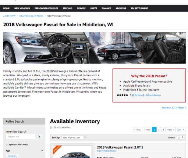 Model Research Page Example of 2018 VW Passat