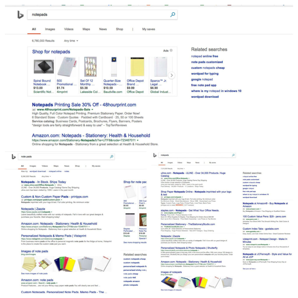 Three examples of Bing SERP that show updated ad delivery