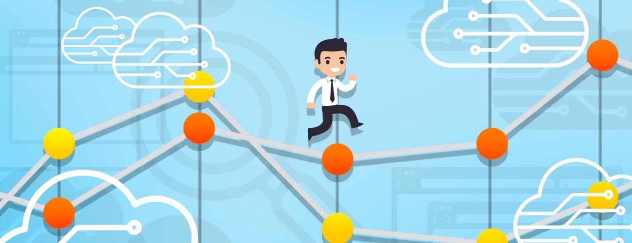 Cartoon worker climbing a rising chart