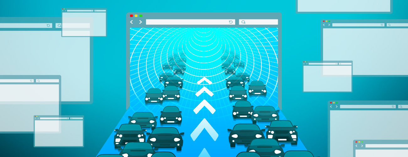 Multiple computer screens with a main one that has vehicles flowing in to represent traffic