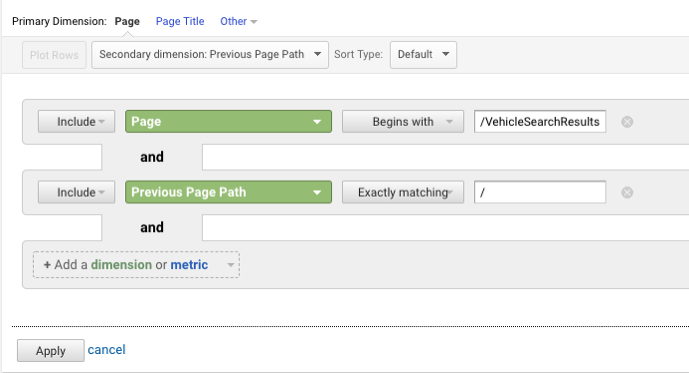 Filtering Data for CDK in Google Analytics Backend
