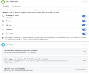Screenshot of current Facebook ad settings
