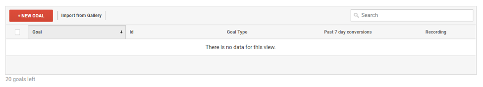 Google Analytics Backend for Setting Goal