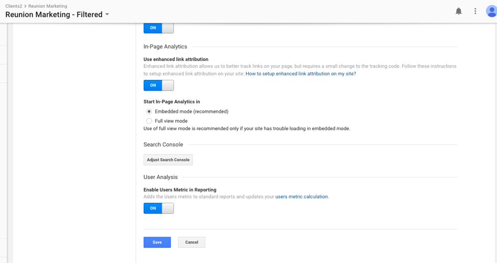 Google Analytics Dashboard Showing Where to Find Option to Adjust Search Console