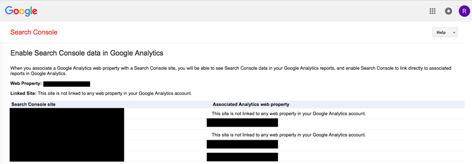 Google Analytics Dashboard Showing Final Screen When Search Console is Connected
