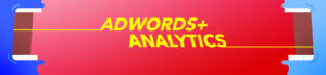 Two mouths communicating the keywords AdWords and Analytics to each other
