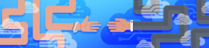 Two hands reaching out to each other to signify the connection between Analytics and Search Console