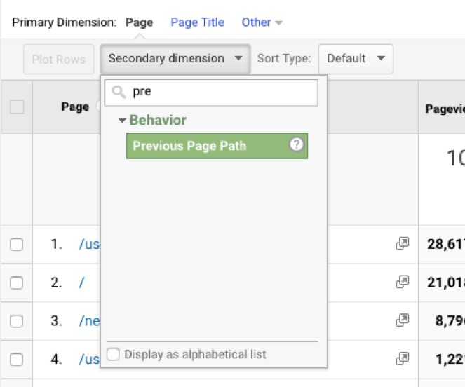 Setting Secondary Dimension in Google Analytics Backend