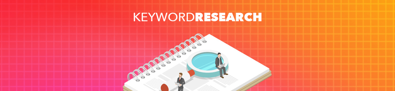 "Magnifying glass atop a notebook of notes with text treatment above that reads ""Keyword Research"""
