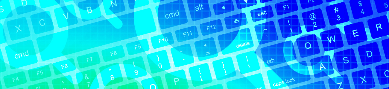 Image of keyboard with an overlay of search symbols in a blue hue