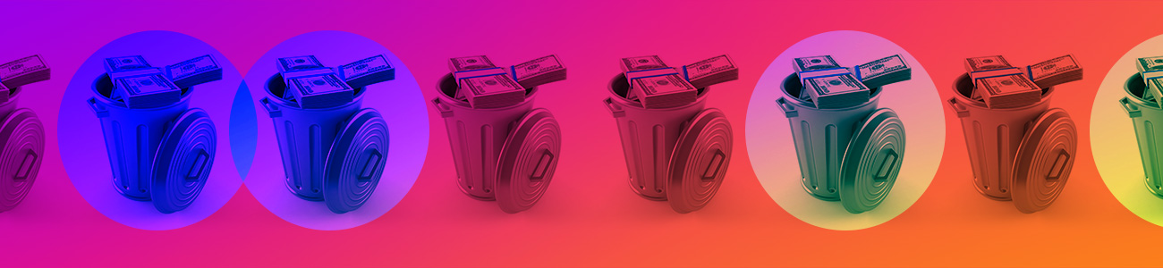 Image of dollars on a trash can