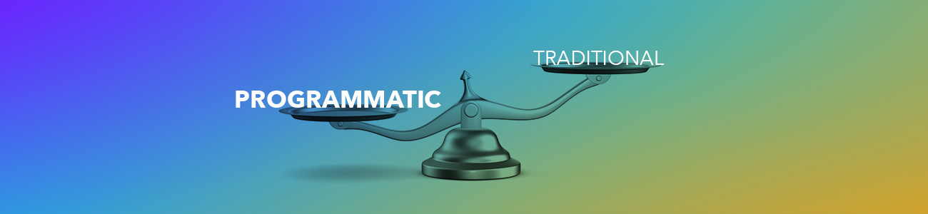 """Scale with """"Programmatic"""" and """"Traditional"""" on the plates, showing Programmatic has more weight"""