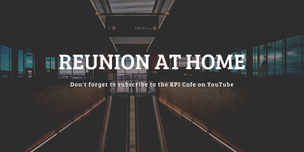 """Empty airport with title """"Reunion at Home"""""""